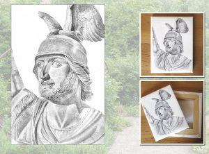 Hermann-Porträt auf Leinwand gedruckt